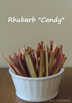 Making Rhubarb Candy is part of Dehydrator recipes - What a simple and quick way to use up your extra rhubarb rhubarb candy! This is so easy that anyone can do it, and so tasty everyone can enjoy some Rhubarb Desserts, Just Desserts, Delicious Desserts, Yummy Food, Rhubarb Rhubarb, Rhubarb Harvest, Goodies, Sweets, Postres