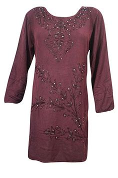 Mogul Womens Medieval Dress Maroon Embroidered Stonewashed Hippie Chic Tunic Boho Style Tunic M Chic Dress, Boho Dress, Womens Medieval Dress, Tunic Blouse, Tunic Tops, Hippie Dresses, Bohemian Style, Hippie Chic, Boho Fashion