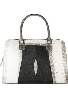 Bone / Black Bag / Briefcase - Genuine Snake and Stingray Skin Leather