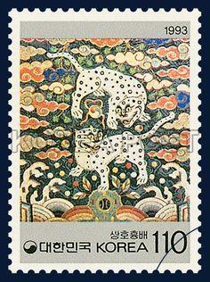 KOREAN BEAUTY SERIES(3rd), Twin Tiger Insignia, traditional culture, white, orange, 1993 10 11, 한국의 미 시리즈(세번째묶음), 1993년 10월 11일, 1739, 쌍호흉배, postage 우표