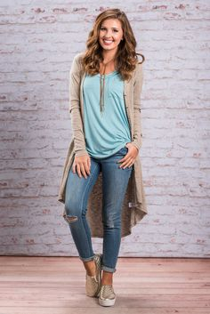 """""""Confident Courage Cardigan, Taupe""""This cardigan is fabulous! We love how long it is! It's not quite a duster but it's still pretty dramatic! Especially for a cardigan with such classic features! #newarrivals #shopthemint"""