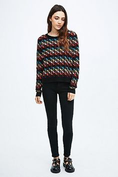Preparing mysef for #blackfriday Cooperative Striped Diamonds Jumper in Black - Urban Outfitters #sweater #covet.me