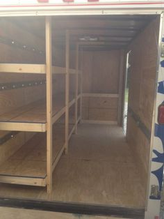 18 Best Design Ideas for RV Bunk Beds - motorian Enclosed Trailer Cabinets, Enclosed Utility Trailers, Utility Trailer Camper, Enclosed Trailer Camper, Work Trailer, Cargo Trailer Conversion, Cargo Trailers, Camper Conversion, Trailer Shelving