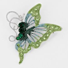 """Crystal Accented Butterfly Brooch / Pendant. - Size : 1 3/4"""" W, 2 1/4"""" L - Rhinestones - Imported - Lead and Nickel Compliant"""