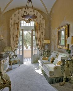 the official site of JP Molyneux Studio Ltd French Style Homes, French Country Style, French Decor, French Country Decorating, English Cottage Bedrooms, Curtains For Arched Windows, Arched Window Treatments, Cornice Design, Room Interior