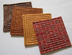 Need some ideas for homemade Christmas gifts for friends? You can sew up a set of cinnamon scented coasters in about an hour. Your friend will love the quilted look and the sweet smell that is released when used under a hot drink.