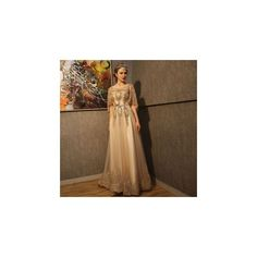 Sequined Cape Sleeve Trained A-Line Evening Gown ($167) ❤ liked on Polyvore featuring dresses, gowns, women, brown evening dress, sequin gown, brown evening gowns, a line ball gown and a line evening dresses