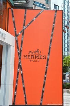 Hermes orange: Hermes gift wrapped hoarding, Hong Kong 2014.
