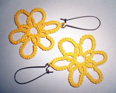 Earrings Yellow Flower Tatted Lace by LillyInLace on Etsy, $12.00