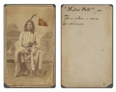 """Title: """"Wild Cat,"""" a Ton-ka-wa Indian          Creator: Shuster, H. S. [attrib.]      Date: ca. 1865-1872  Part Of: Lawrence T. Jones III Texas photography collection  Physical Description: 1 photographic print on carte de visite mount; 10 x 6 cm.           File: ag2008_0005_2_7_13_c_wildcat_opt.jpg   Rights: Please cite DeGolyer Library, Southern Methodist University when using this file. A high-resolution version of this file may be obtained for a fee. For details see the sites.sm..."""