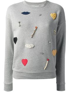 Women - All - Stella Mccartney Lips, Heart And Matchstick Embellished Sweatshirt - Biffi