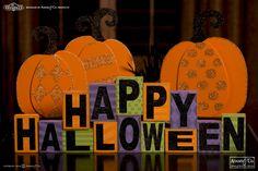 """""""Happy Halloween,"""" multicolored Halloween block set - Halloween decorations #Halloween #glitter #spooky #adamsandco #krumpets"""
