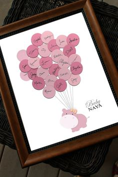 Gstebuch ideen pinterest decoraciones de fiesta sorpresa y baby shower guestbook hippo with balloons solutioingenieria Image collections