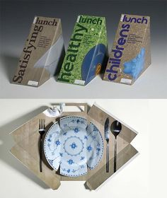 Art with your lunch. A box, that turns into a place-setting, includes a lunch. Unfortunately only sold in the UK. Designer Emma Smart