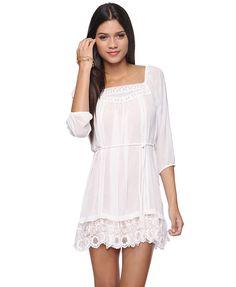Look 5: Lace Trim Boho Dress / F21 $32.80 (+ Pink Ruched Sleeve Jacket + Sequin Floral Heels)
