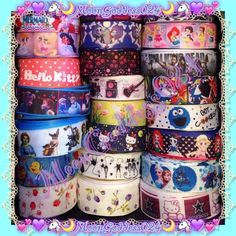 POST3MORE Hair BowRibbon Choice Availability Just posting a selection of more ribbon choices for hair bows☺️Comment below if interested I Customize✌️  Little Mermaid Chibi Disney Princess's 1 Hello Kitty Frozen Shrek The Little Mermaid Pink Floral Marie~Aristocats Jack & Sally Sugar Skulls Neon Black Tinkerbell Hello Kitty Witchy Halloween Friday the 13th Purple Floral Chibi Disney Princess 2 The Walking Dead Alice & Wonderland Cookie Monster Chibi Disney Princess 3 Frozen Elsa & Anna, Olaf…