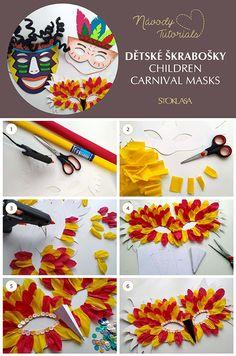 Návod na výrobu originálních dětských škrabošek. Carnival Crafts, Carnival Decorations, Carnival Masks, Winter Crafts For Kids, Diy Crafts For Kids, Projects For Kids, Easy Crafts, Wrapping Paper Storage, Brazil Carnival