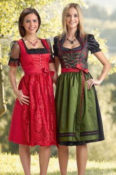 Dirndl von Trachtenmode Hiebaum, rot, schwarz-rot-grün, kurz, modern, festlich.