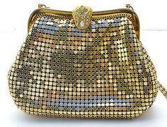 Gold Shoulder Bag Mesh Purse  Rhinestone Clasp Vintage