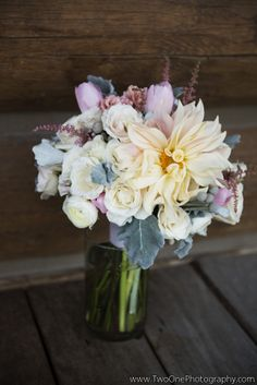 Bride's bouquet with dahlia and ranunculas from Love This Day, Two One Photography