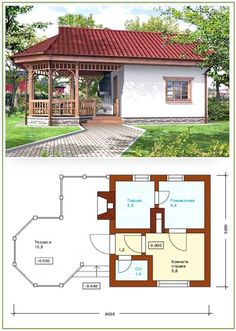 Bathhouse with a gazebo under one roof (projects, photos): profitable, functional and aesthetically pleasing Bamboo House Design, Bungalow House Design, Small House Design, Cottage Design, Sauna House, Tiny House Cabin, Cute Small Houses, Model House Plan, Home Design Plans