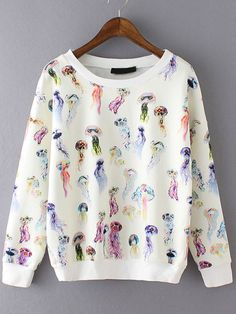 SheIn offers Multicolor Round Neck Jellyfish Print Sweatshirt more to fit your fashionable needs. Cute Sweaters, Cute Shirts, Sweat Shirt, Quirky Fashion, Printed Sweatshirts, Hoodies, Cute Casual Outfits, Sweater Jacket, Fashion Outfits