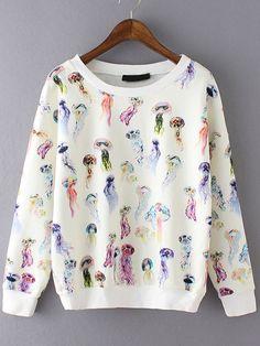 Multicolor Round Neck Jellyfish Print Sweatshirt