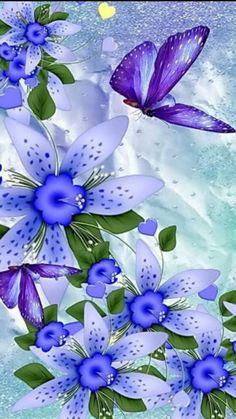 Wallpaper Nature Flowers, Flower Background Wallpaper, Beautiful Nature Wallpaper, Flower Backgrounds, Colorful Wallpaper, Wallpaper Backgrounds, Butterfly Painting, Butterfly Art, Flower Art