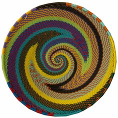 Beautiful basket woven in the Zulu tradition. Their colors and designs are incredible and they are made of left-over telephone wire donated by the phone companies! Wire Basket, Basket Weaving, Hand Weaving, Phone Companies, Woven Baskets, Zulu, Telephone, Bowls, Fiber