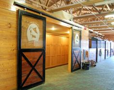 sliding glass doors to the tack room