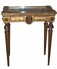 Wonderful 19th century Antique neo-classical style giltwood and painted petite vitrine table with lion masks