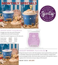 Scentsy August 2014 Warmer of the month: Fun in the Sun and Scent Fuzzy Blanket