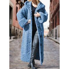 Solid Chunky knit Hooded Casual Long Cardigan (1002322445) - Sweaters - #322445 vencano Hooded Cardigan, Long Cardigan, Sweater Cardigan, Dress For Short Women, Hoods, Knitting, Long Sleeve, Casual, Sweaters