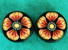 SALE - Set of 2 Yellow and Red-Orange Polymer Clay Flower Cane Slice Beads , s1