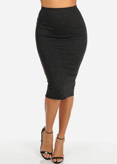 High Waisted Midi Skirt (Grey)