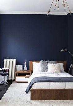 chambre mur bleu fonce