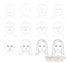 How to Draw a Female Face Step by Step Tutorial - EasyDrawingTips step by step drawing - Drawing Tips Female Face Drawing, Girl Face Drawing, Face Drawing Easy, Easy Drawings Sketches, Sketches Tutorial, Eye Drawings, Pencil Drawings, Step By Step Sketches, Step By Step Drawing