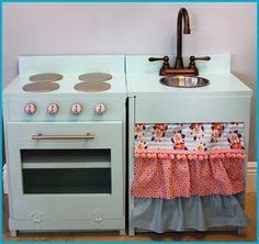 kiddie kitchen built from lumber