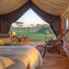 Serengeti Under Canvas Tented Suite, Ngorongoro Crater Lodge, Tanzania Tent Camping Beds, Camping Set Up, Backpacking Tent, Camping Ideas, Camping Glamping, Camping Hacks, Glam Camping, Camping List, Outdoor Camping