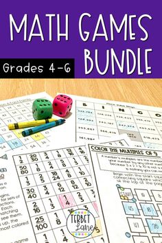 These 5 engaging math games make learning about factoring and multiples, equivalent fractions, multiplication, and Math Activities For Kids, Fun Math, Math Resources, Math Lesson Plans, Math Lessons, Elementary Math, Upper Elementary, Fourth Grade Math, 6th Grade Math Games