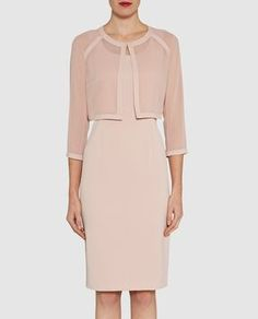 Buy Gina Bacconi Crepe Dress And Chiffon Crepe Jacket, Apricot Crush, 12 from our Women's Dresses range at John Lewis & Partners. Latest Fashion For Women, Womens Fashion, Dress Shapes, Complete Outfits, Crepe Dress, Coat Dress, Mother Of The Bride, Ideias Fashion, Cold Shoulder Dress