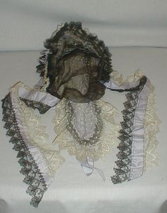 Exceptional 1860's Lace Lilac Ribbon Evening Headdress | eBay fiddybee, dotted white net lack, from Tolles estate in Middlebury, CT, front brim & side streamers trimmed with black lace, inside with black net lace & has snood for the hiar