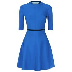 Victoria, Victoria Beckham Open Back Skater Dress ($930) ❤ liked on Polyvore featuring dresses, holiday dresses, blue cocktail dress, blue cut out dress, cut out dress and blue dress