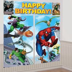 Spider-man Spider Sense Happy Birthday Giant Scene Setter by Amscan. $10.95. Giant 5 piece set. (1) 44.5 x 16 in. (2) 10.25 x 16 in. (2) 32.5 x 59 in. Over 6 feet! For Indoor/Outdoor use Great as A Background for taking pictures at the Party!