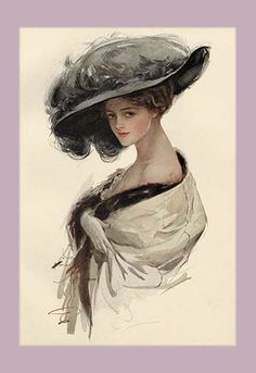 "Harrison Fisher was a commercial artist from New York. He was known as ""The Father of a Thousand Girls"" and did extensive work for Cosmopolitan magazine. Look Vintage, Vintage Girls, Vintage Prints, Vintage Art, Vintage Beauty, Victorian Art, Victorian Women, Vintage Pictures, Vintage Images"