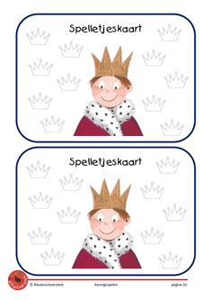 Koningsspelen spelletjeskaart groot formaat Kings Day, Château Fort, Holland, Playing Cards, Doodles, Teddy Bear, Clip Art, Classroom, Lettering