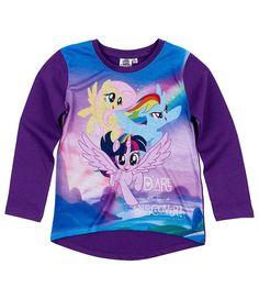 My Little Pony Girls Long Sleeve Top, Tees T-Shirt 3-10 Years - Purple