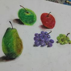 Oil pastel fruits