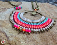 Beige, golden, jade green, fluorescent pink and orange, coral and bordeaux Yarn Necklace, Macrame Necklace, Macrame Jewelry, Fabric Jewelry, Pendant Necklace, Macrame Colar, Macrame Knots, Micro Macrame, Metal Choker