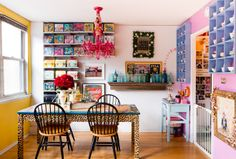 I LOVE the leopard trimmed table! I also love all the color in this room, but then, I LOVE color!